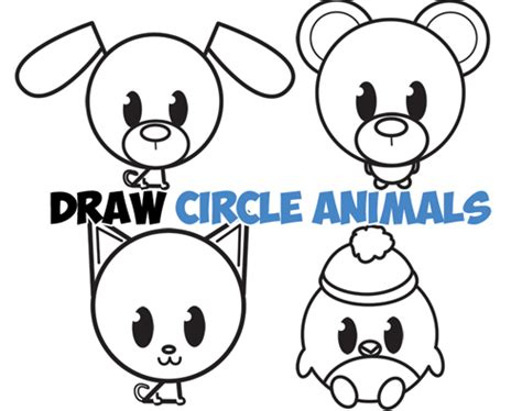 big guide  drawing cute circle animals easy step  step