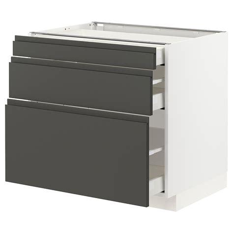 80x60x80 cm black/voxtorp dark grey. METOD / MAXIMERA Base cabinet with 3 drawers - white ...