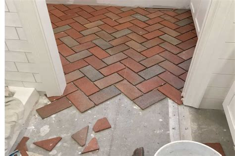 Laying Tile by Installing A Brick Floor Using 1 2 Quot Authentic Brick Tiles