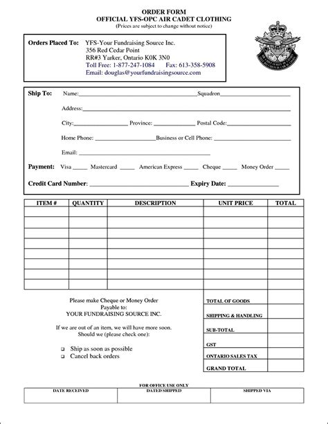 clothing order form template  order form template