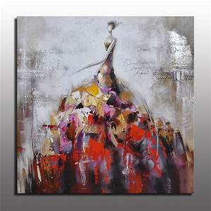 colorful modern decor pictures dancing girl in big dress With best brand of paint for kitchen cabinets with times square canvas wall art