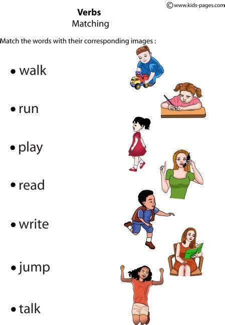 kids pages verbs matching   images english