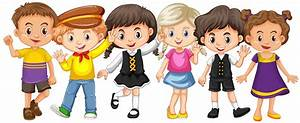 Many kids with happy face - Download Free Vector Art ...