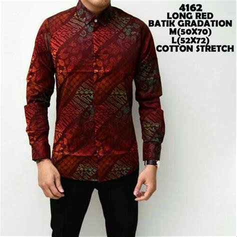 jual baju hem formal fashion lengan panjang distro murah batik merah maroon mix korea manly
