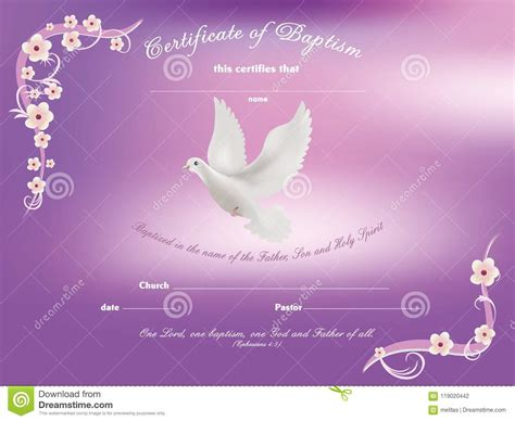 certificate baptism template  dove   flowery