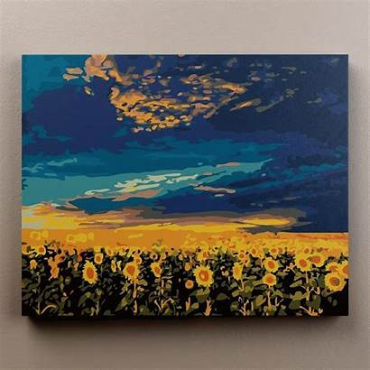 Paint Paintings Sunflower Painting Field Aesthetic Acrylic
