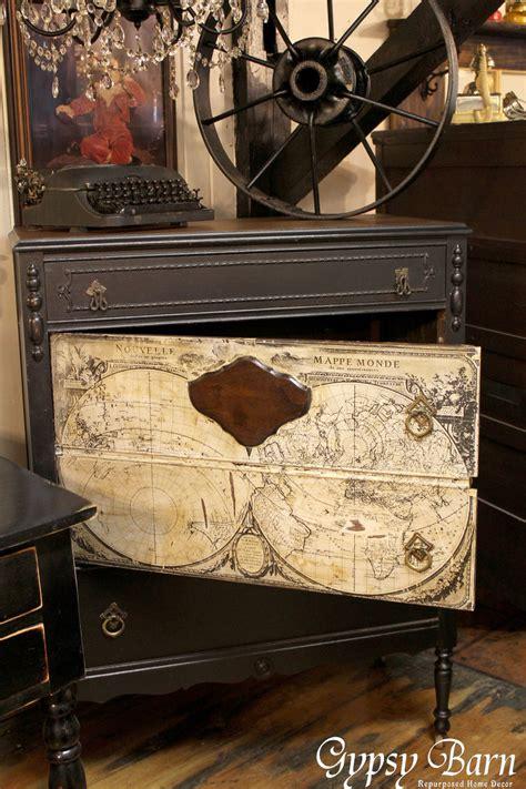 hometalk repurposing dresser  decoupage map