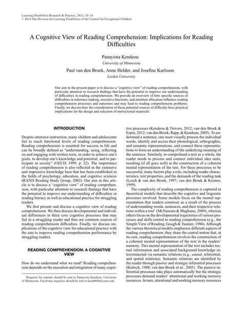 (pdf) A Cognitive View Of Reading Comprehension Implications For Reading Difficulties