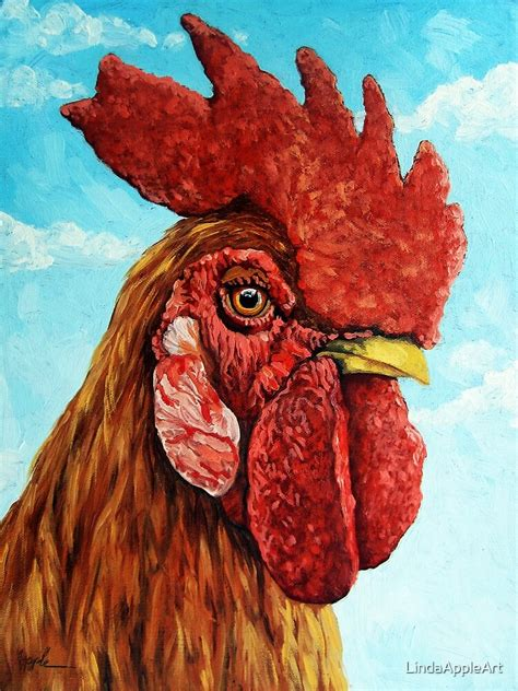 rooster realistic oil painting farm animal