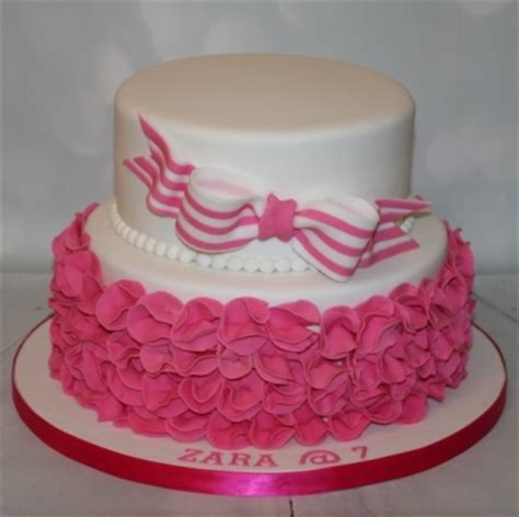 tier pink ruffle  stripey bow
