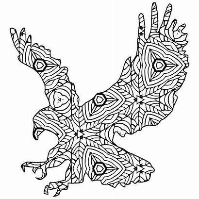 Coloring Animal Pages Geometric Printable Eagle Elephant