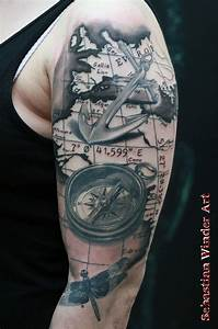 Tattoo Kompass Anker : compass anchor dragonfly done by sebastian winder tattooartist from germany essen ~ Frokenaadalensverden.com Haus und Dekorationen