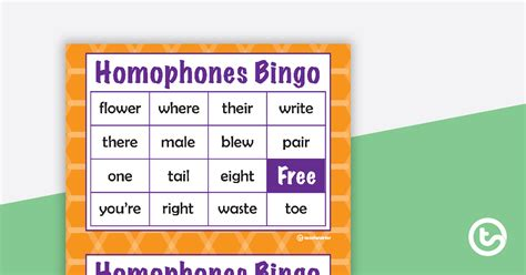 homophones bingo teaching resource teach starter