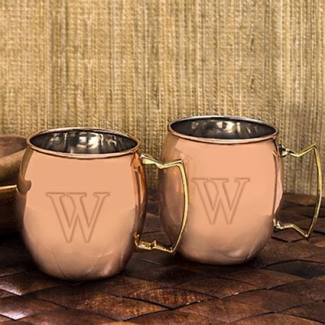 Personalized Copper Moscow Mule Mug Set Groomsmens