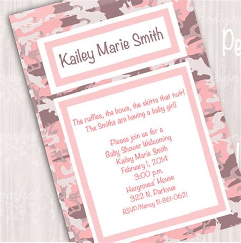 template pink camo baby shower