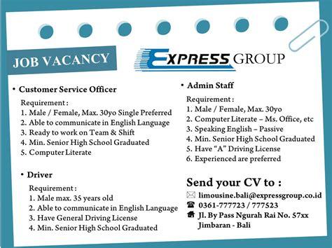 job vacancy bali limousine