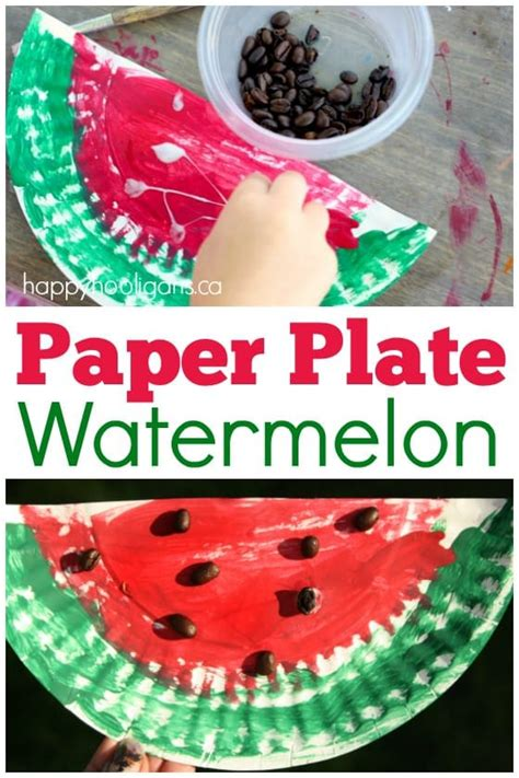 paper plate watermelon craft happy hooligans 178 | Paper Plate Watermelon Letter W Craft for preschoolers and toddlers Happy Hooligans