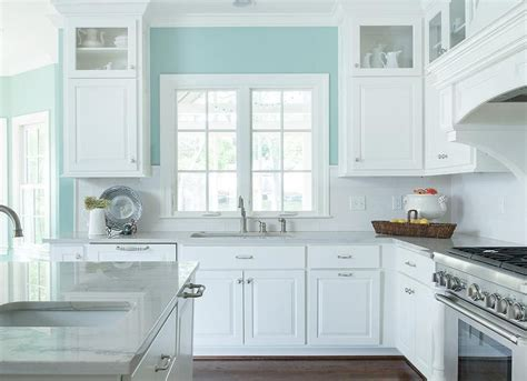 white  turquoise kitchen features walls painted
