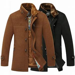 New Casual Men Woolen Coat Rabbit Fur Collar 2014 Fashion ...