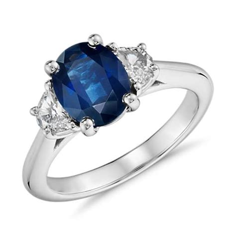 sapphire and half moon shaped ring in platinum 9x7mm blue nile