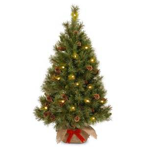 4ft pre lit battery operated pine cone burlap artificial tree garden world