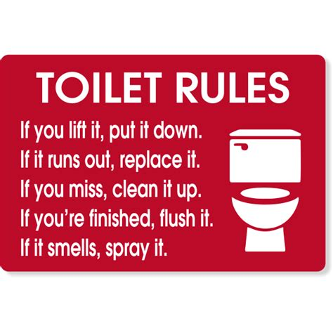 toilet rules engraved sign custom signs