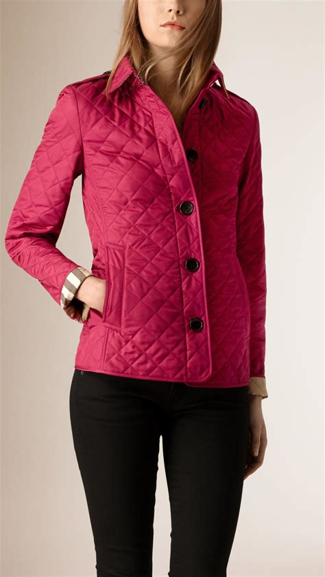 s burberry quilted jacket burberry quilted shell jacket in pink lyst