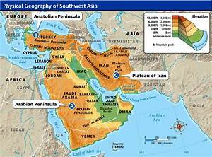 Southwest Asia And North Africa Physical Map | Mexico Map