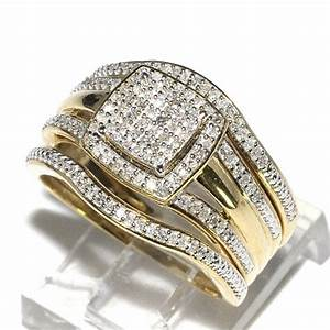 trio wedding rings set bridal set 3 piece and mens wide With three piece wedding ring sets