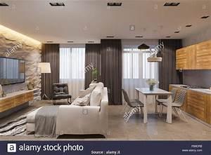 Cucina  Divano Letto  Modesto Interior Design In Stile Scandinavo  Soggiorno E Cucina  3d