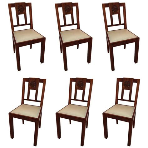 european deco mahogany set 6 dining chairs for sale at
