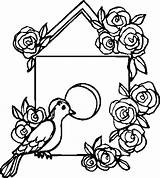 Bird Coloring Pages Roses Decorating sketch template