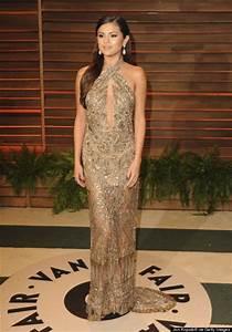 Dress: selena gomez, gold, sheer, formal dress, long dress ...