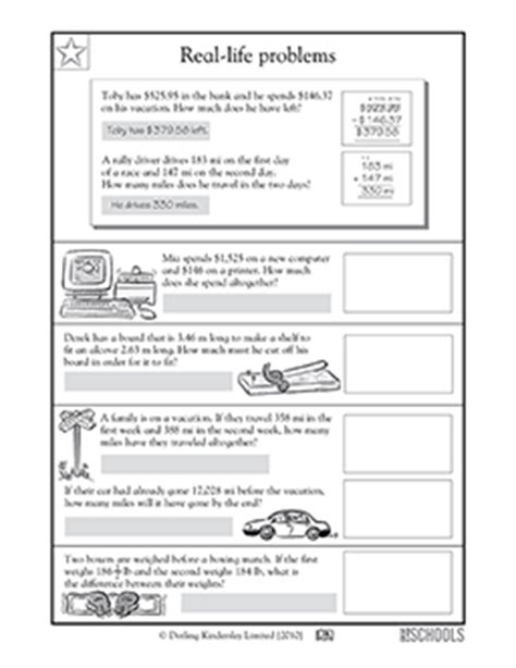 4th grade 5th grade math worksheets everyday math