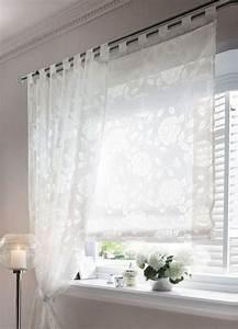 Raffrollo Weiß Transparent : 1 st raffrollo rollo 80 x 140 wei blumen ausbrenner ~ Lateststills.com Haus und Dekorationen