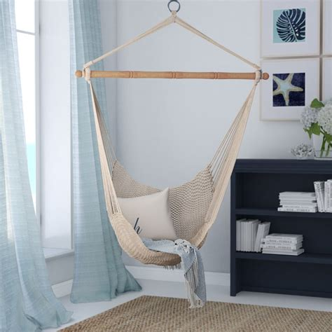 Room Hammock Chair by Beachcrest Home Crowell Rope Cotton Chair Hammock