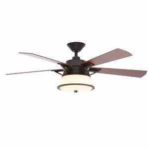 Hampton bay marlowe in led indoor oil rubbed bronze ceiling fan with light kit and remote