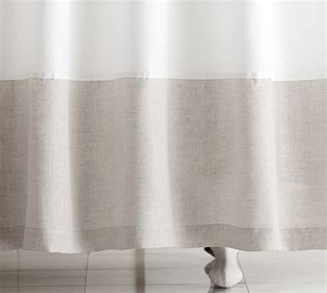 linens shower curtains linen banded shower curtain pottery barn