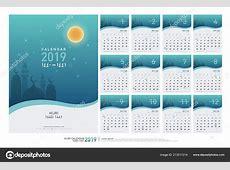 Calendar 2019 Hijri 1440 1441 Islamic Template Simple