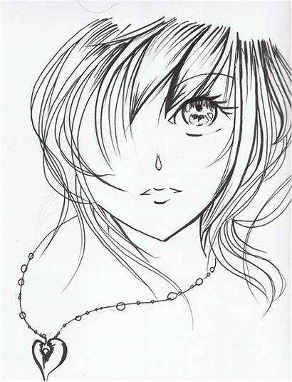 Anime Face Drawing Sketch Coloring Sad Faces