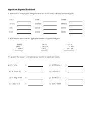 Significant Figures Worksheets 1  Significant Figures Worksheet Significant Figures 1 Indicate