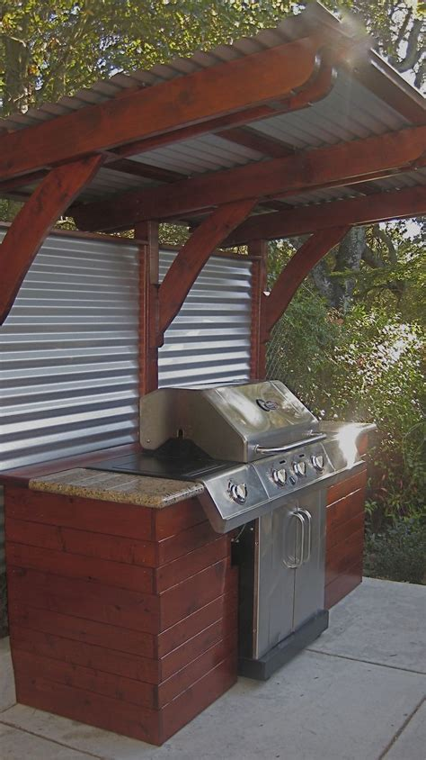 wooden bbq cover restoration wood panels and corrugated metal siding for patio bbq area www picapainting com