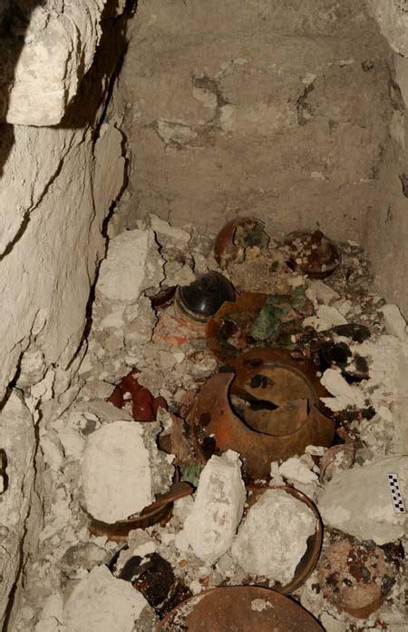 bowls  human fingers  teeth   mayan tomb