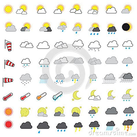 cool  weather forecasting vector icon set stock