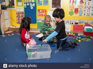 Preschool Children Playing With Toys In The Classroom ...