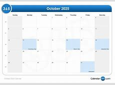 October 2025 Calendar