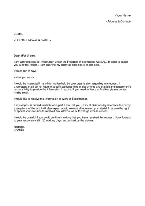 Foia Request Template by Freedom Of Information Request Letter Template