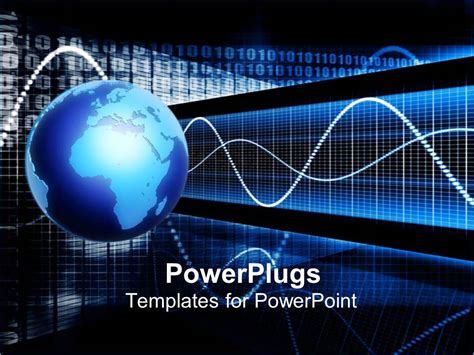 technology powerpoint templates powerpoint template earth globe with pulse signals 29200