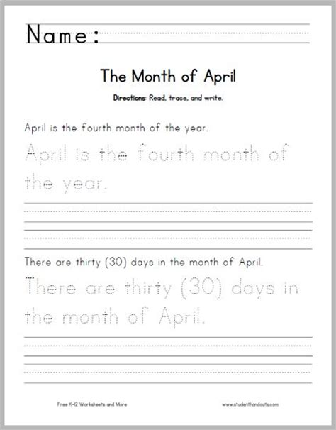 april handwriting and spelling practice worksheet directions read trace and write 1 april