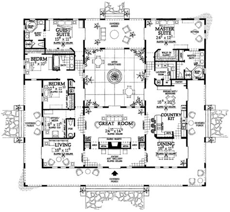 courtyard home plans open courtyard house plan hunters